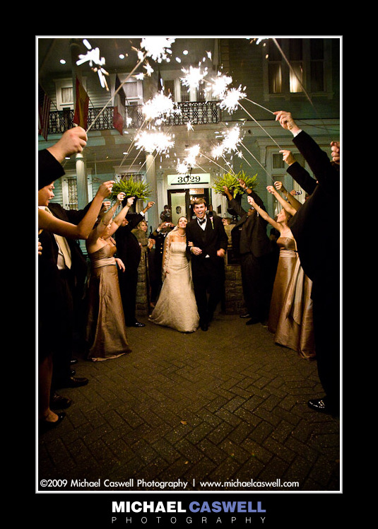 Sparkler exit at New Orleans Elms Mansion Wedding