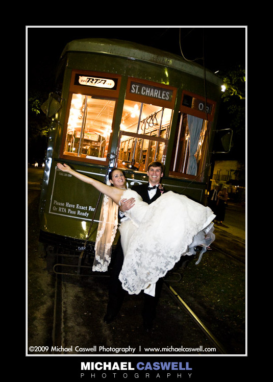 New Orleans Streetcar Wedding Photo
