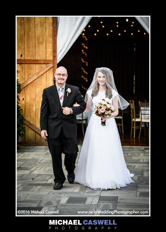 Bride and Father at Berry Barn in Amite