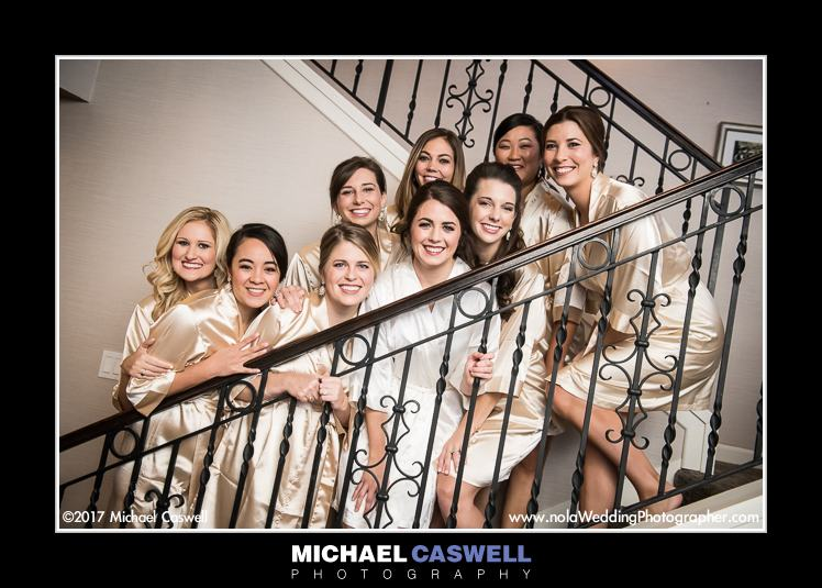 Bride and bridesmaids in robes at JW Marriott