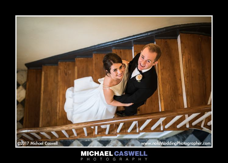 Bride and groom on stairs at Latrobes