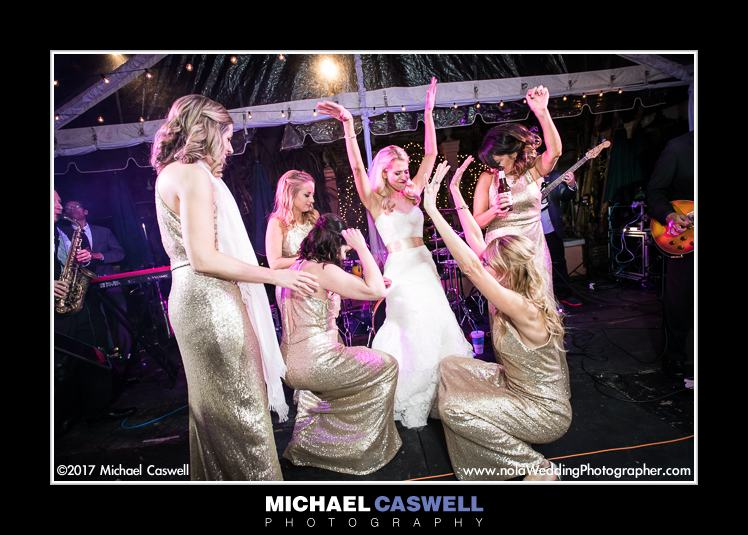 Bride and bridesmaids on stage