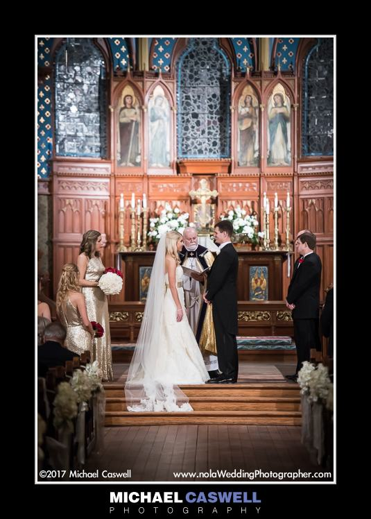 Bride and groom at altar during wedding at Christ Church Cathedral